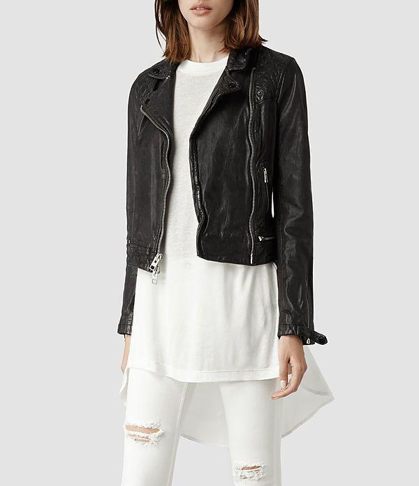 Womens Conroy Leather Biker Jacket (Ink)   ALLSAINTS.com