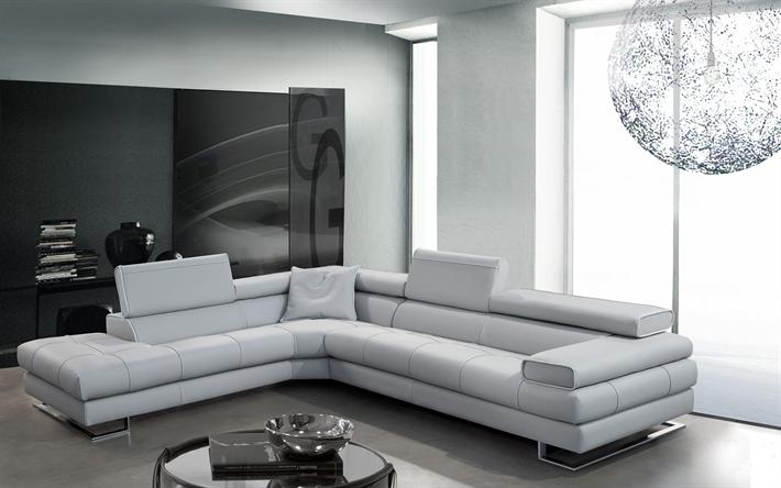 Herunterladen Hintergrundbild 4k, Wohnzimmer, Weiße Zimmer, Moderne  Wohnung, Ein Sofa, Modernes