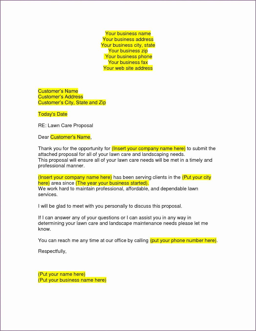 Landscaping Bid Proposal Template Luxury Lawn Care Proposal Proposal Letter Business Proposal Letter Business Plan Template