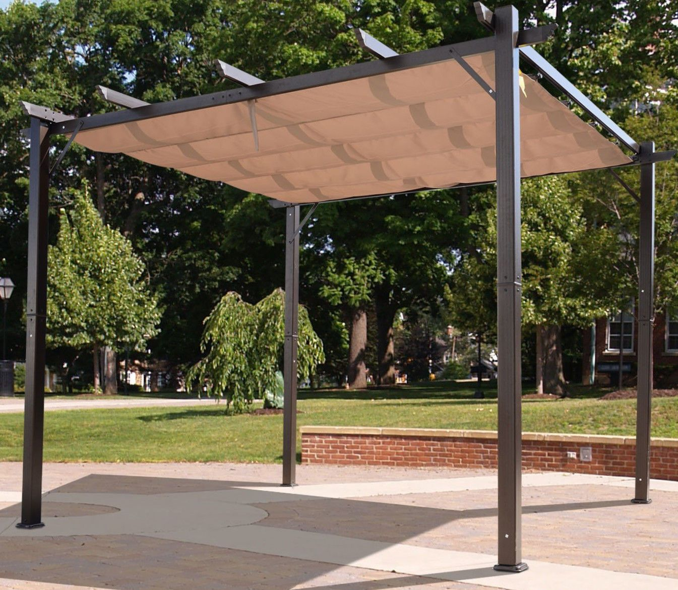 Outdoor Pergola Aluminum Canopy Retractable Shade Shelter 10x10 Patio Gazebo Kit Ebay Pergola Exterior Planos De Pergola Paisajes
