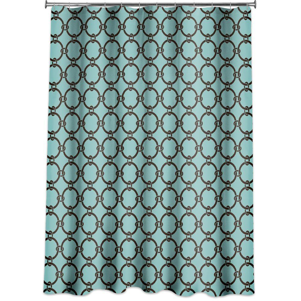 Amazon.com - Links Peva Shower Curtain, Turquoise Blue - Brown And ...