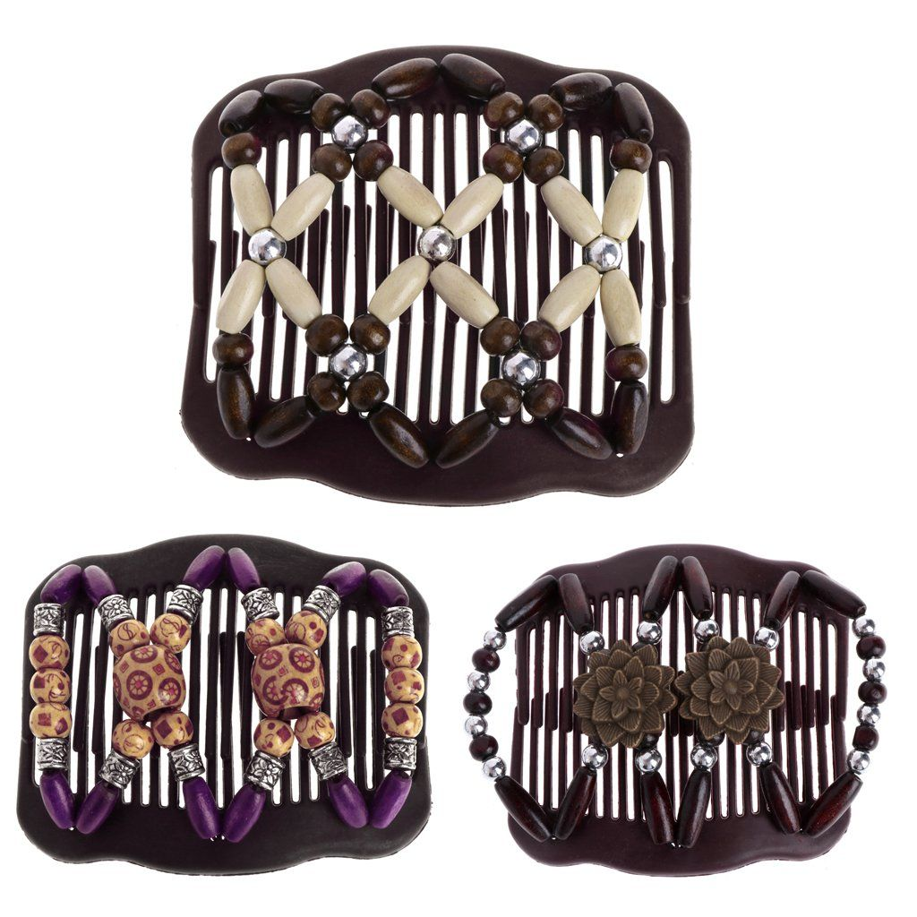 Magic Wood Beads Double Hair Comb Clips Womens Hair Jewelry Hair Accessories