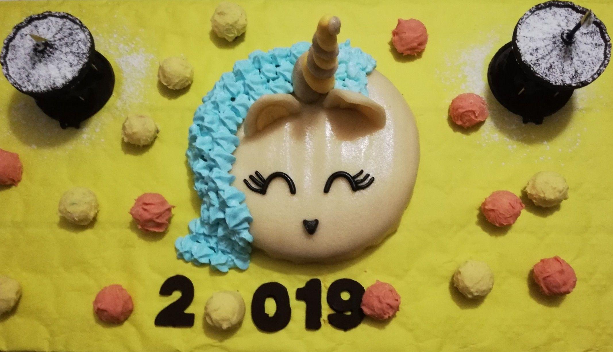 Gâteau licorne réveillon 2018,2019 (poirier)