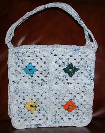 Recycled Plastic Granny Square Tote Bag.