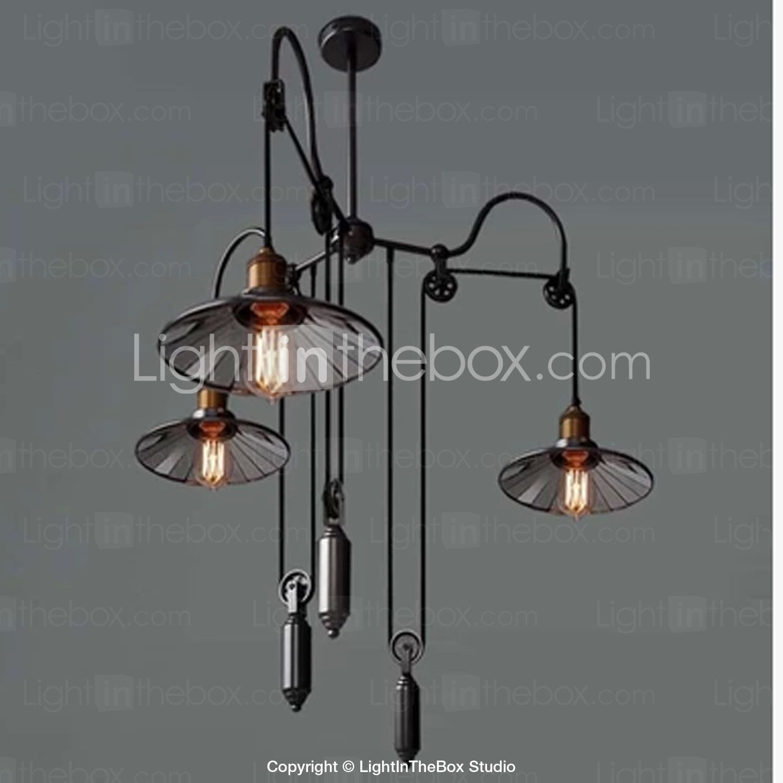 Vintage Pully Pendant Lights 3 Light Island Light Foyer pendants Dinning Pendants Study room Metal+ Galss inside shade - USD $ 275.99