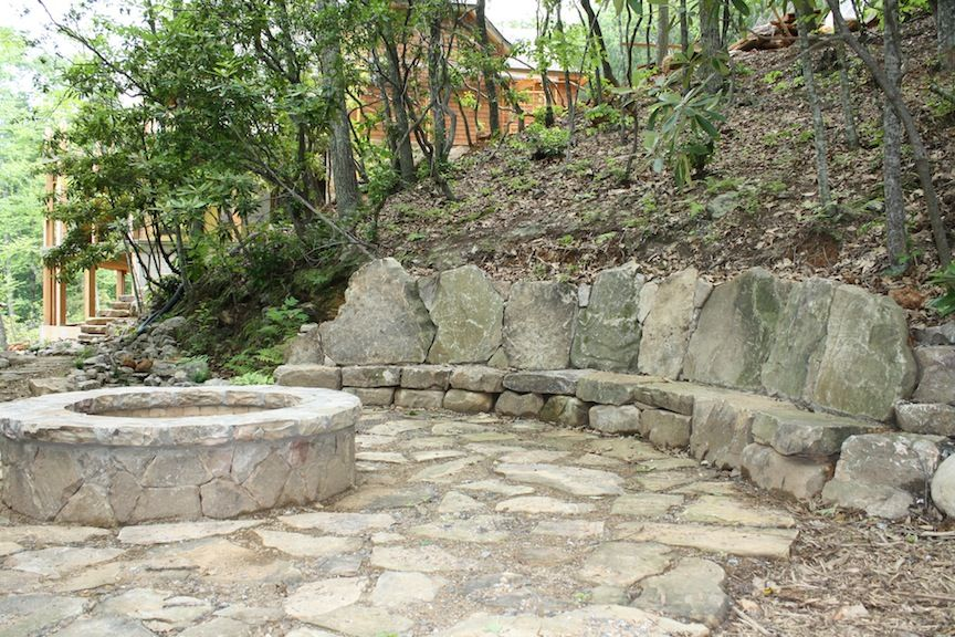 rustic flagstone patio with firepit patios and walkways