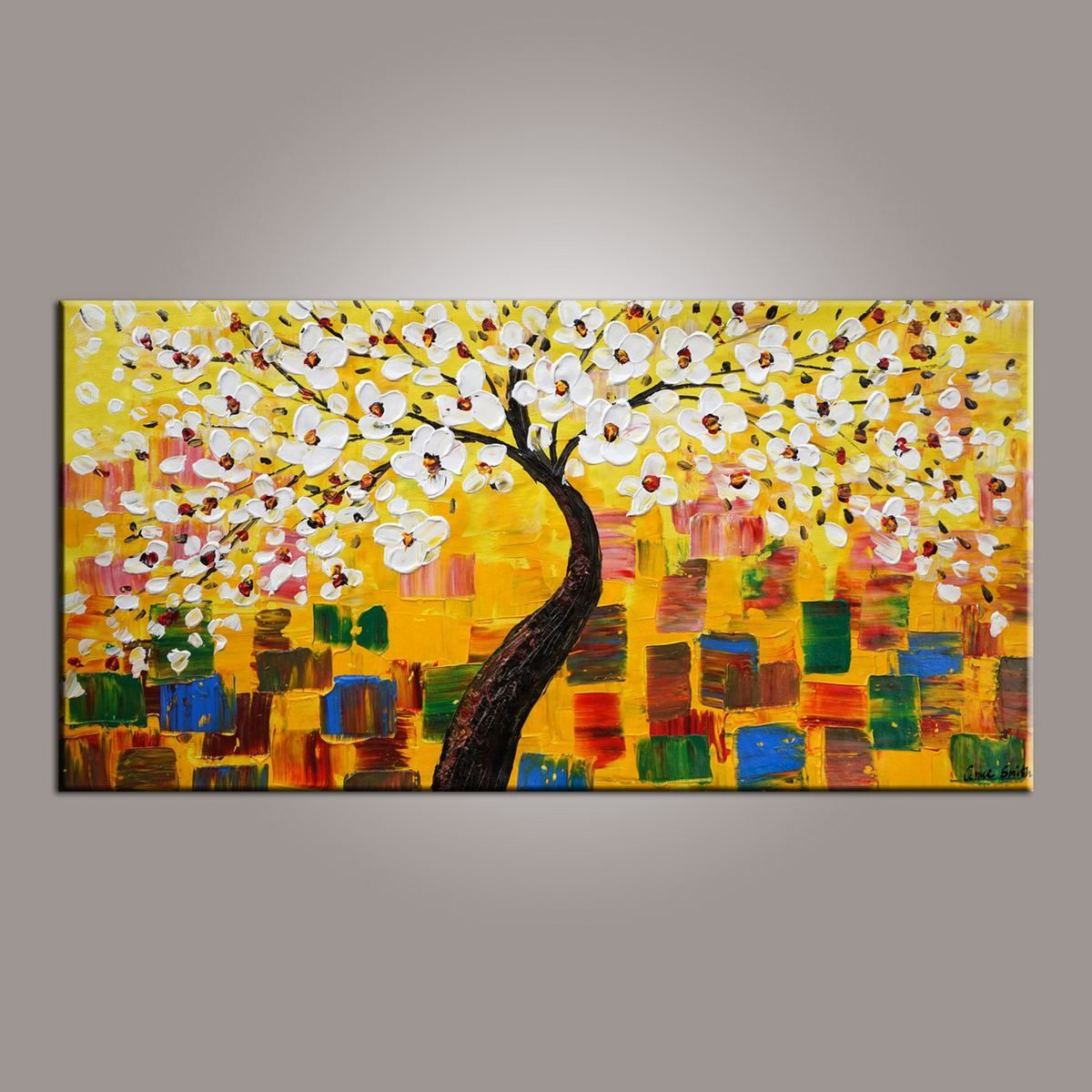 Abstract Art Painting, Painting on Sale, Flower Tree Painting ...