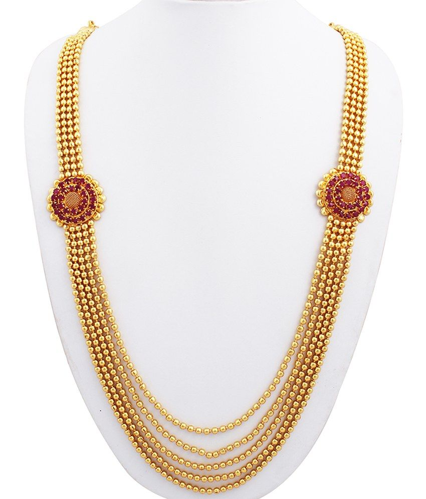 Sthrielite gold plated ruby necklace set jewellary pinterest