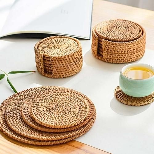 Photo of Placemat Pad Coasters Rattan Kitchen – 10cm / As shown