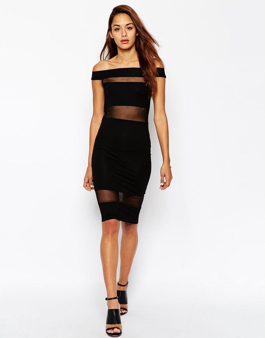 Image of asos mesh insert bardot midi dress cocktail dresses