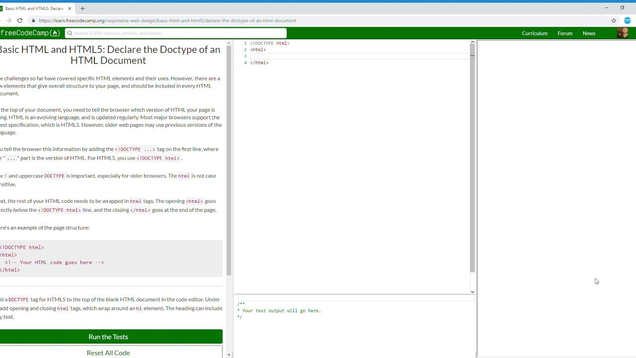26 27 Basic Html And Html5 Declare The Doctype Of An Html Document Le Free Web Design Coding Camp Coding