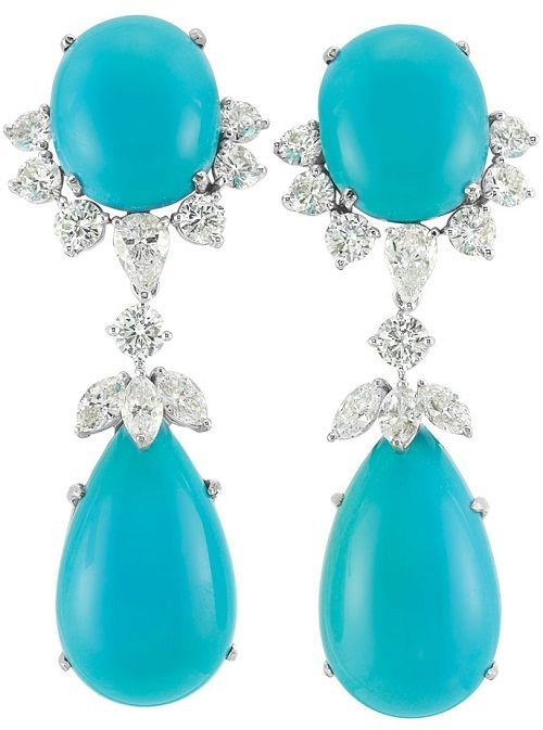 Van Cleef And Arpels Pair Of Platinum White Gold Turquoise Diamond Earrings