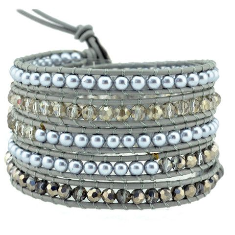 Taupe Pearl Mix Wrap Bracelet