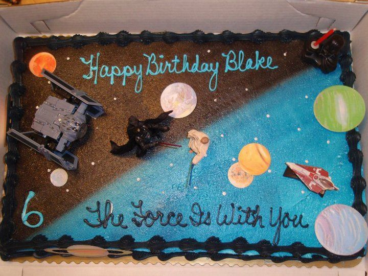 Your Local Bakery Kroger Walmart Etc And Have Them Ice A Cake For You 1 2 Blue Dark Then Add Own Decorations Super Cool Starwars