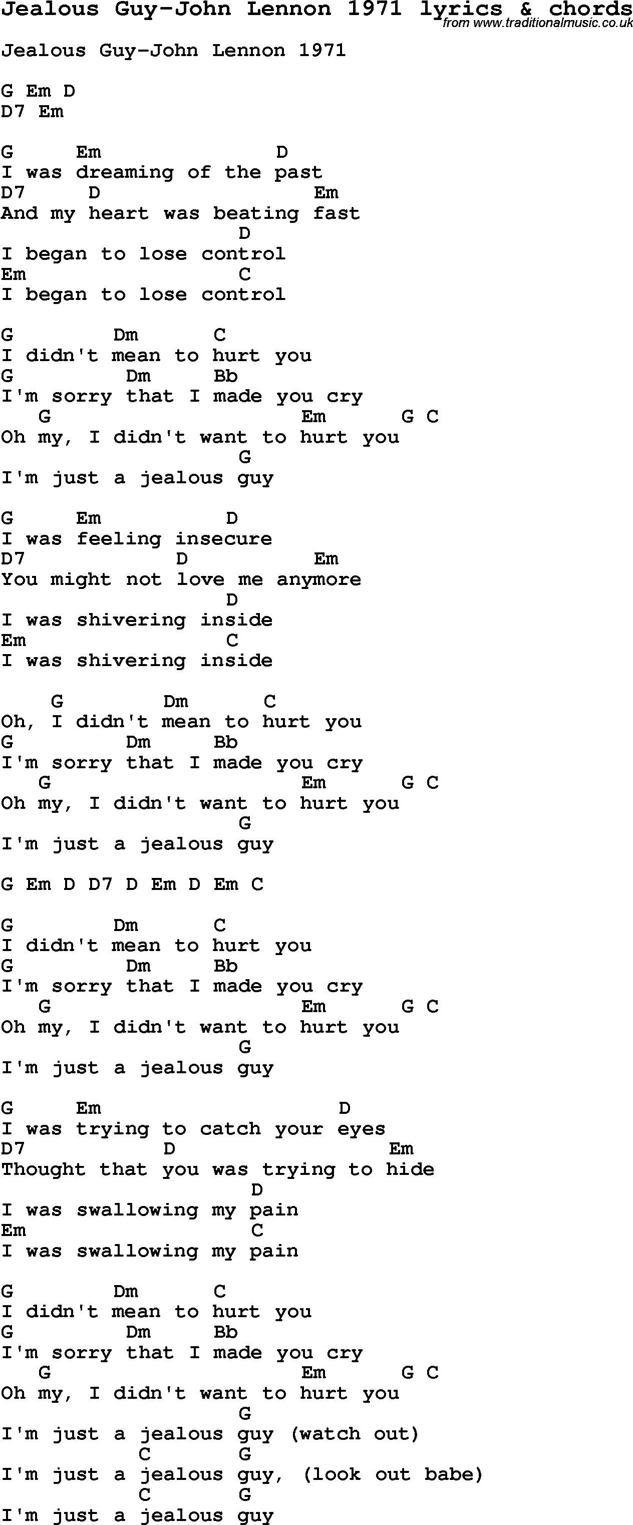 Love Song Lyrics For Jealous Guy John Lennon 1971 With Chords For