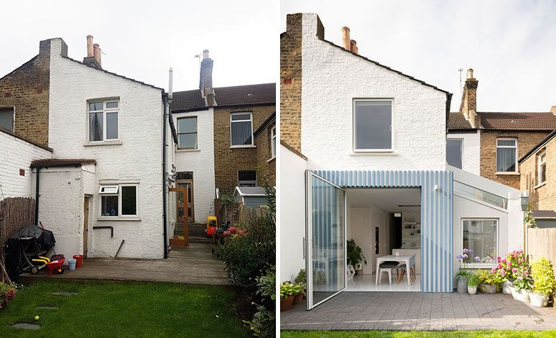 Before & After - British architecture studio CAN, have designed a modern rear side extension to open the back of this Victorian terrace house to it's garden. #Renovation #RearExtension #HouseExtension #ModernHouseExtension #Architecture