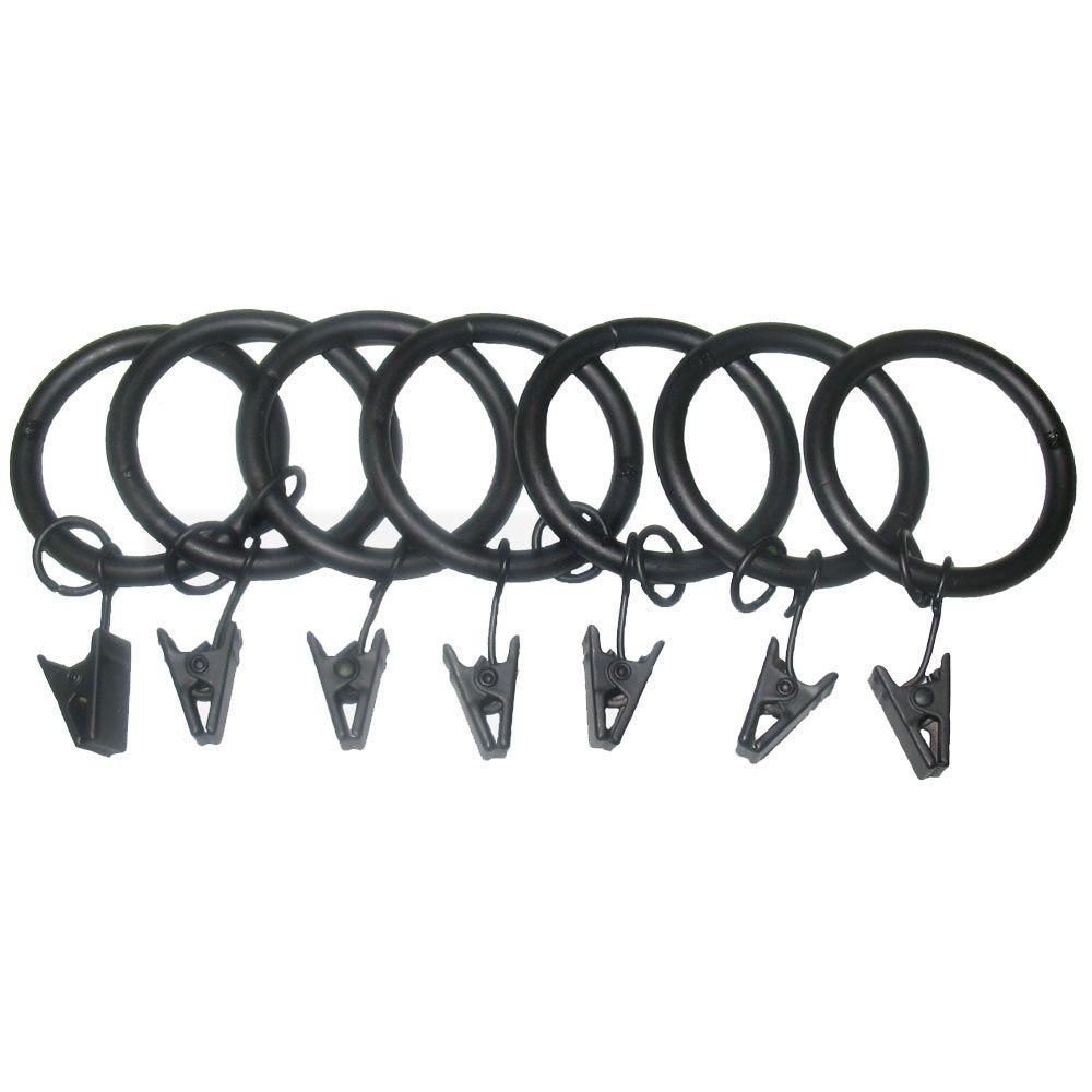Classic Home 7 Pack 1 1 4 In Matte Black Drapery Rings With Clips