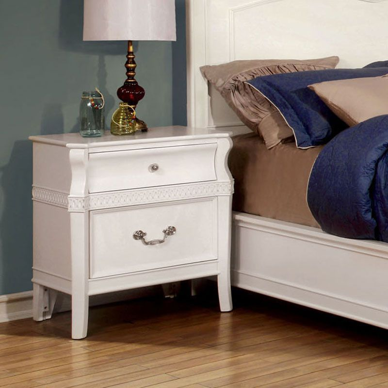 Elvas transitional style white finish bedroom nightstand - Transitional style bedroom furniture ...