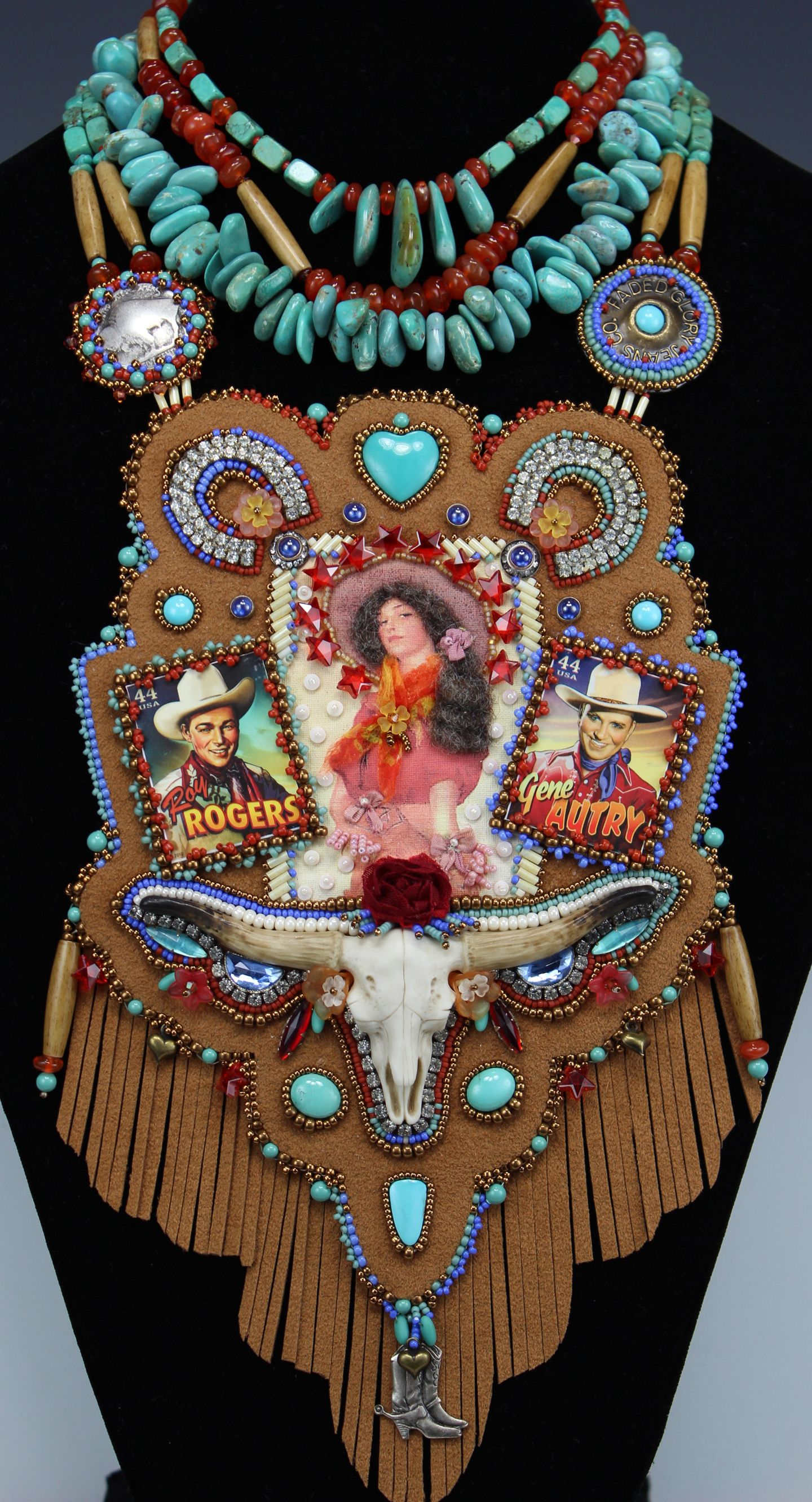 Sweetheart of the Cowboys by Diane Hyde 2014 - Bead embroidery, stringing. Vintage rhinestones, seed beads, charms, postage stamps, image on fabric, ribbon, wool roving hair, crystal stars and bicone beads, porcelain longhorn steer by Laura Mears, Ultrasuede, turquoise, carnelian, pearls, buttons, silk rose, bone hair pipe beads.
