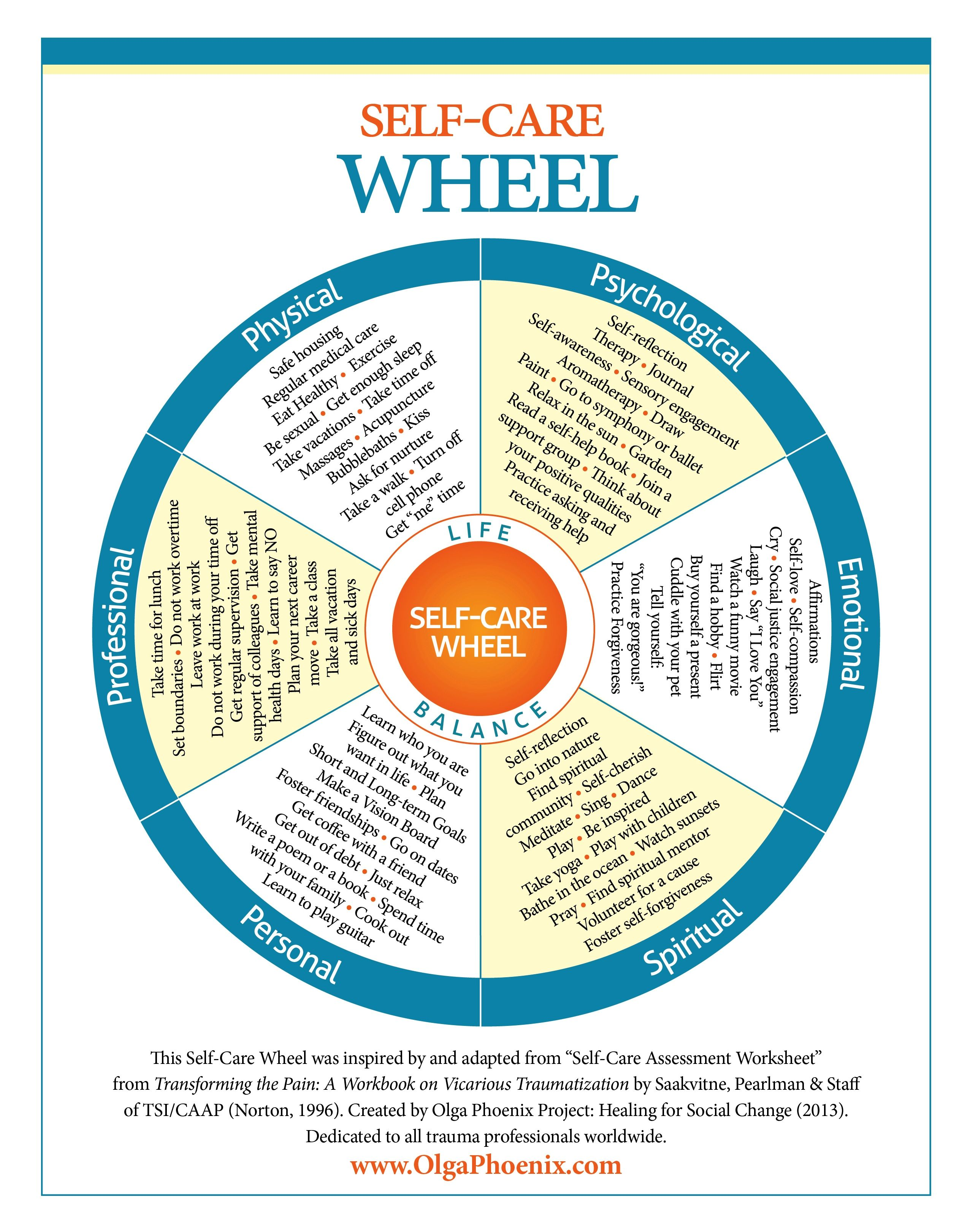 Olga Phoenix Self Care Wheel  Google Search  Leadership And