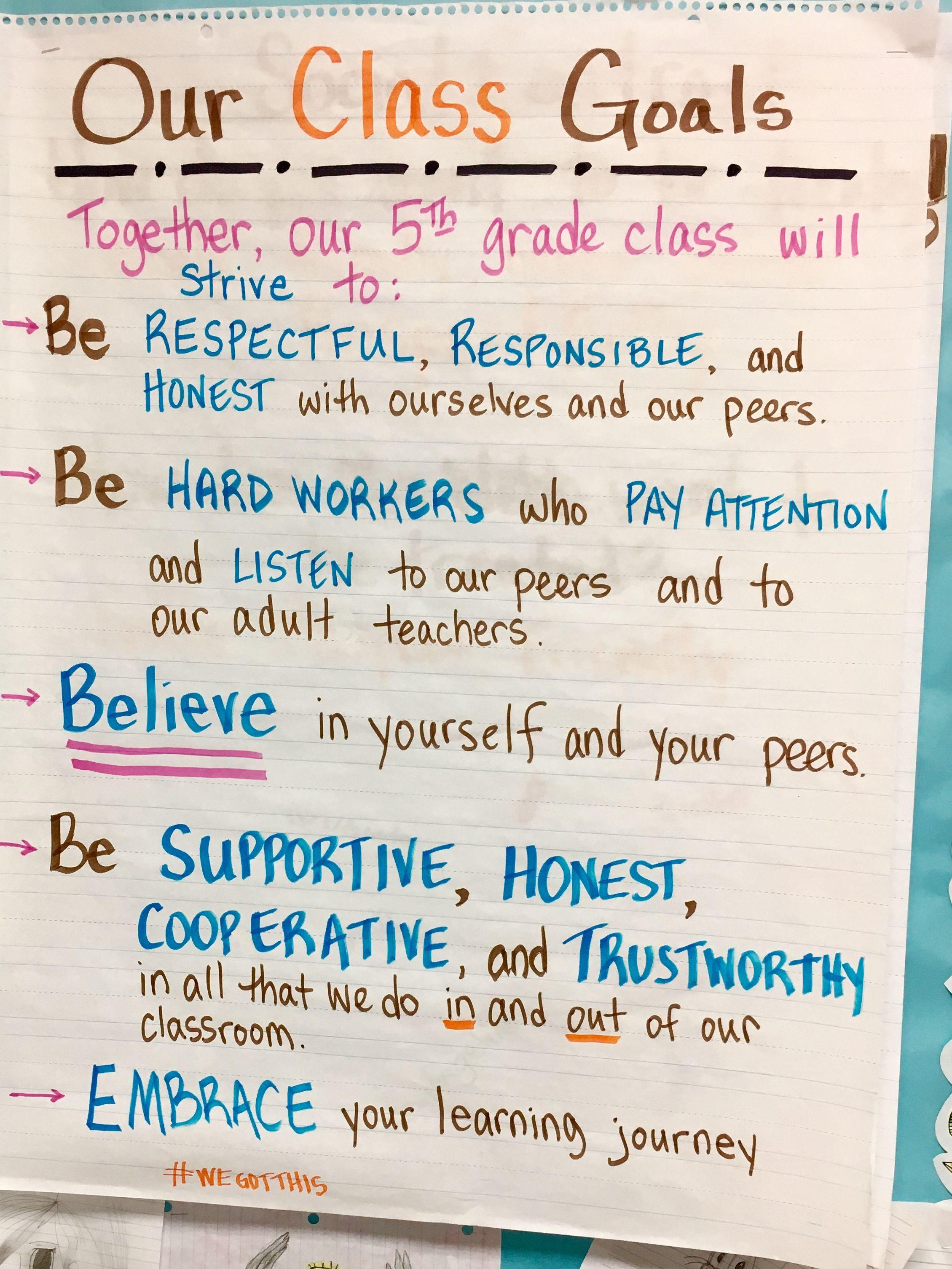 Our Class Goals 5th Grade