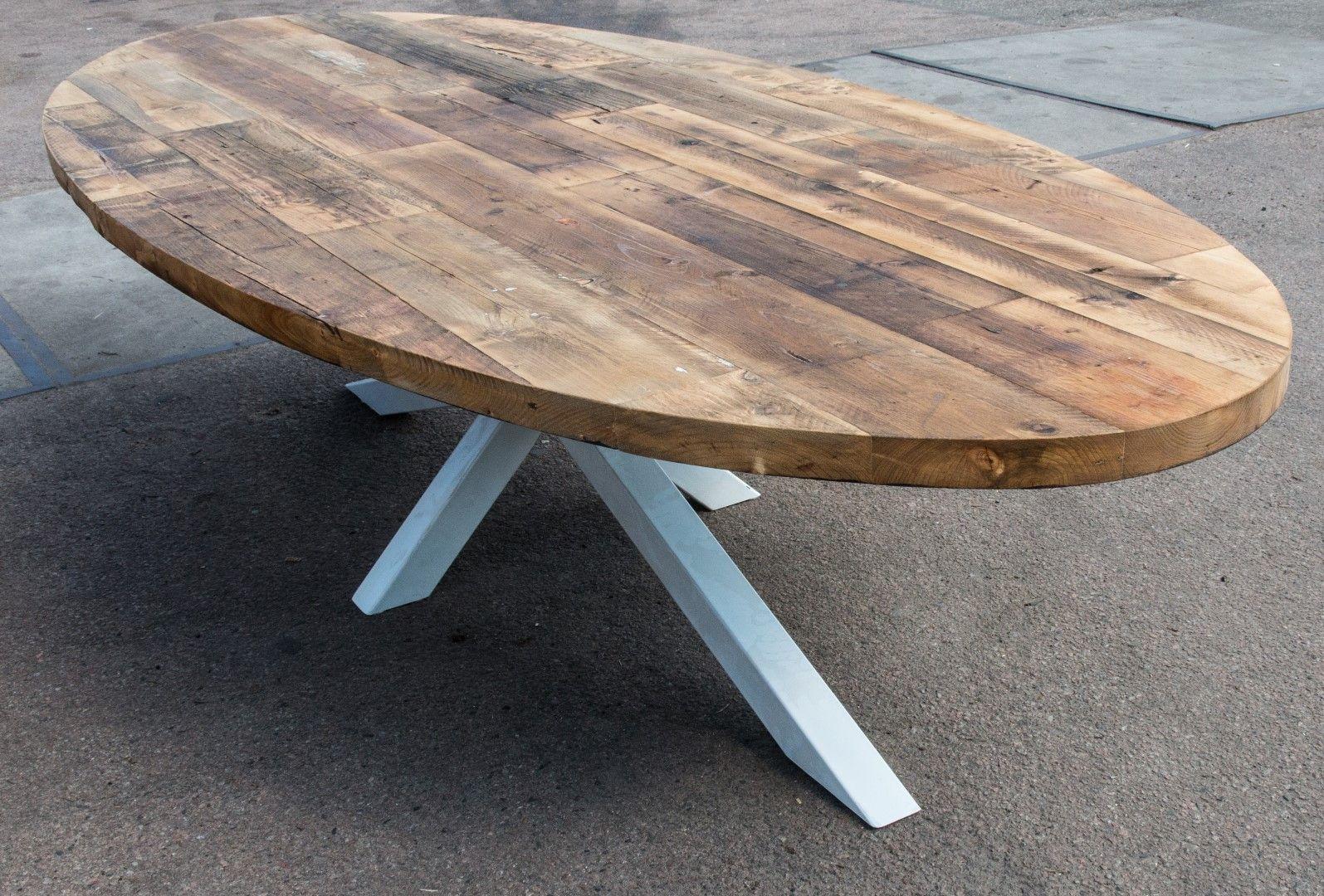 Robuuste Industriele Tafels.Industriele Robuuste Ovale Eettafel By Woodindustries Jouw Online