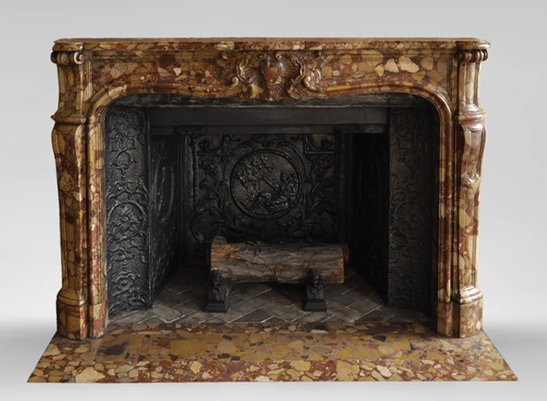 Beautiful Antique Louis Xv Style Fireplace In Aleppo Breccia Marble With A Large Shell Marble Fireplace French Antiques Architectural Antiques
