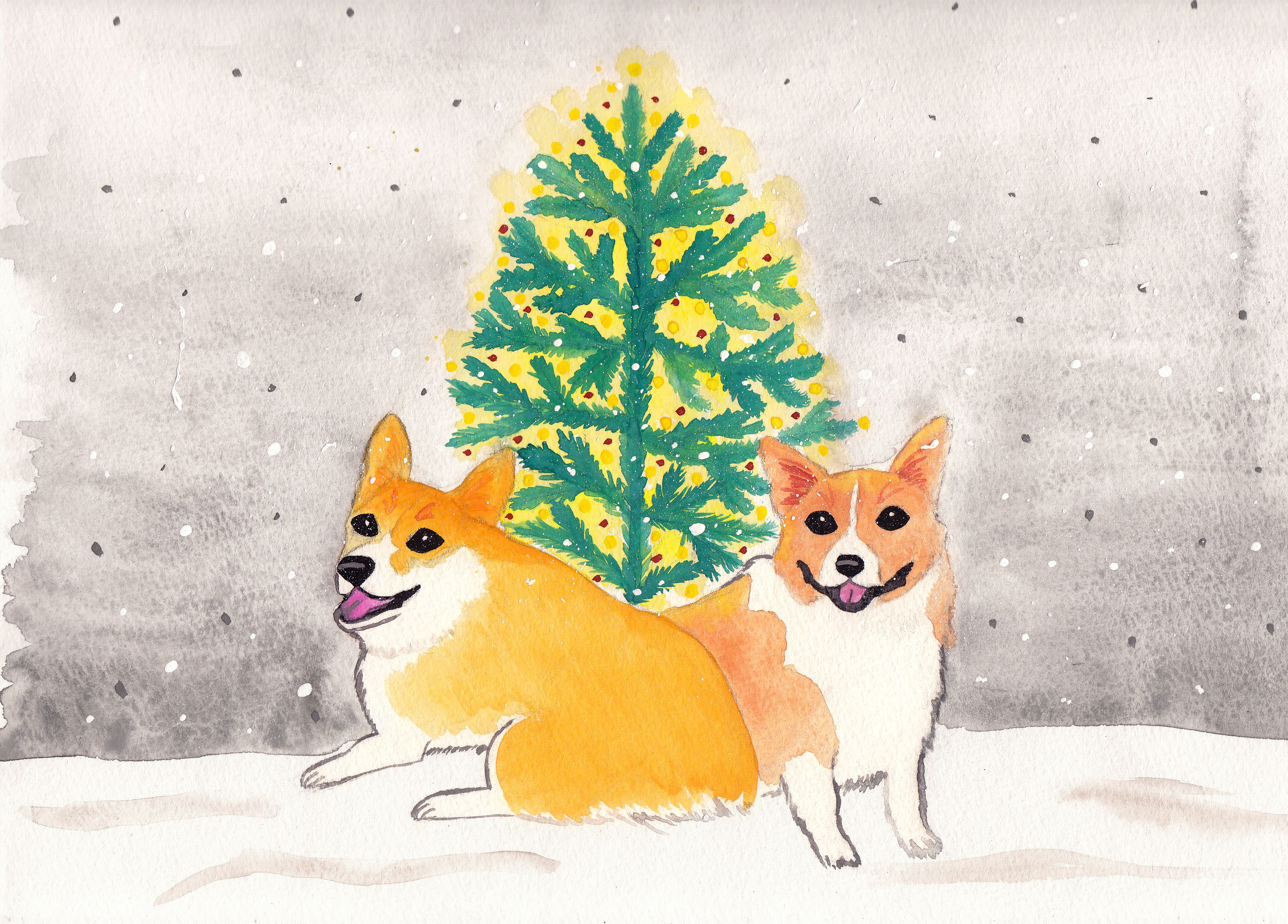 Corgi Christmas Card - Watercolor, Art, Artist, Christmas, Snow ...