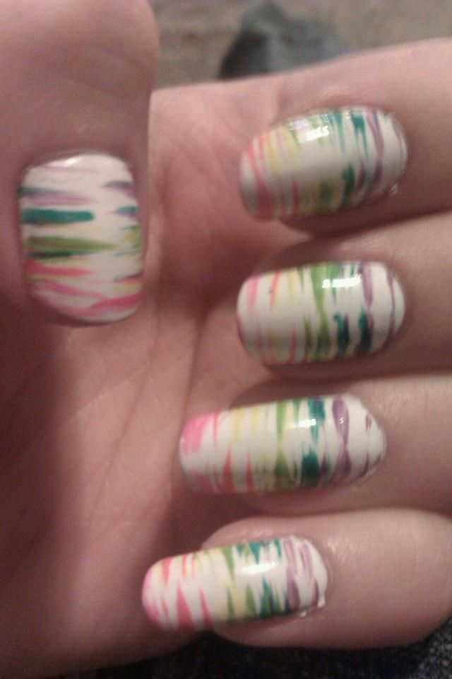 White nails with multi-color fan brush side stripes, free hand nail ...