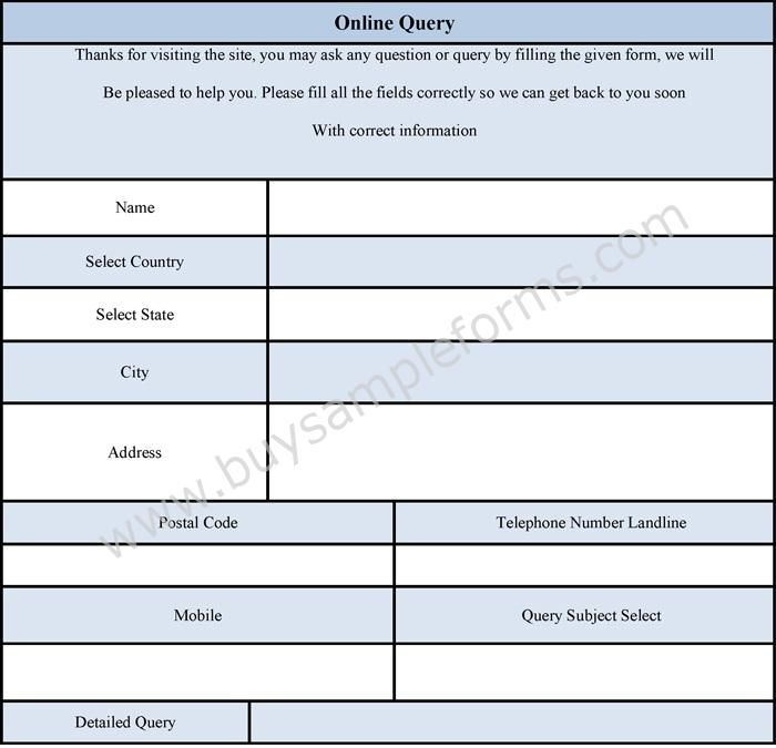 A Query Form Format Provides The Format In Which A Query Form Is