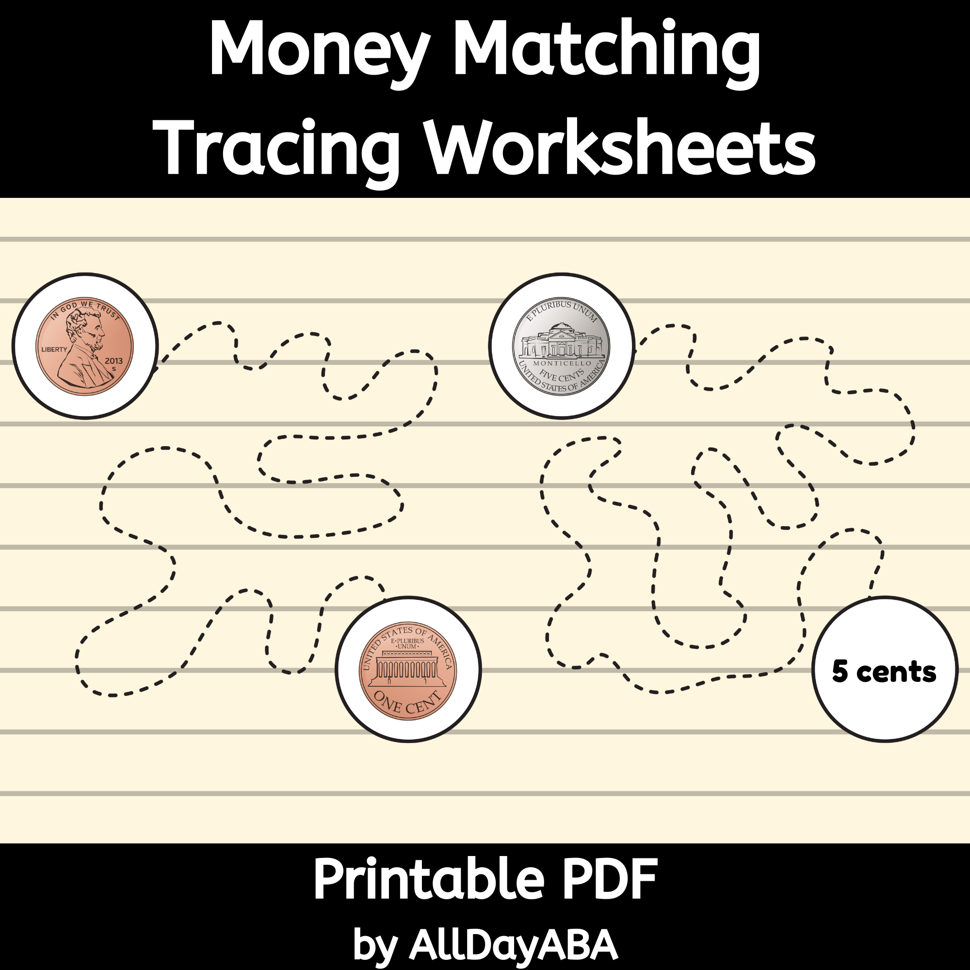 Money Matching Tracing Worksheets