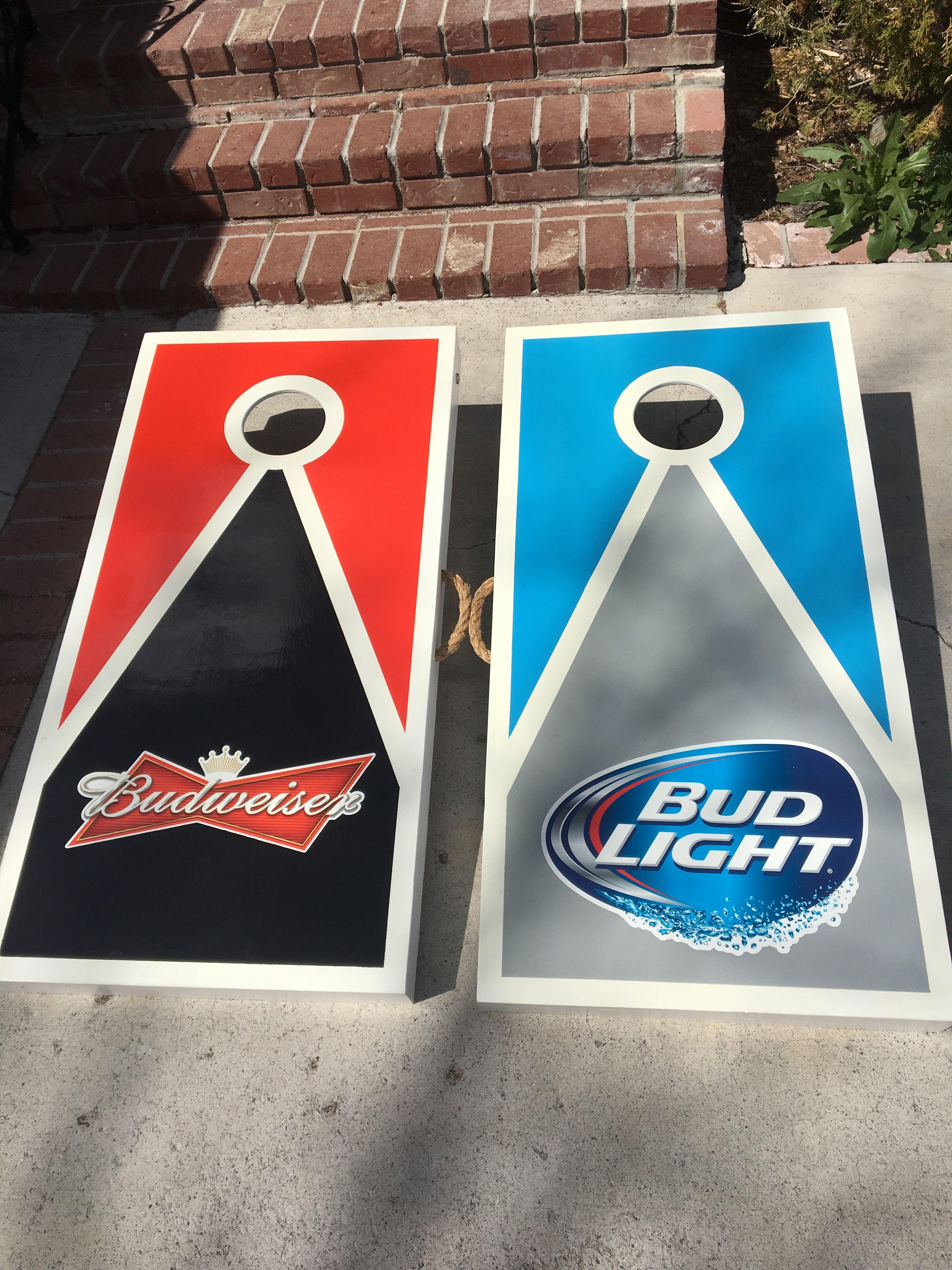 Bud Light and Budweiser cornhole boards. Cornhole boards