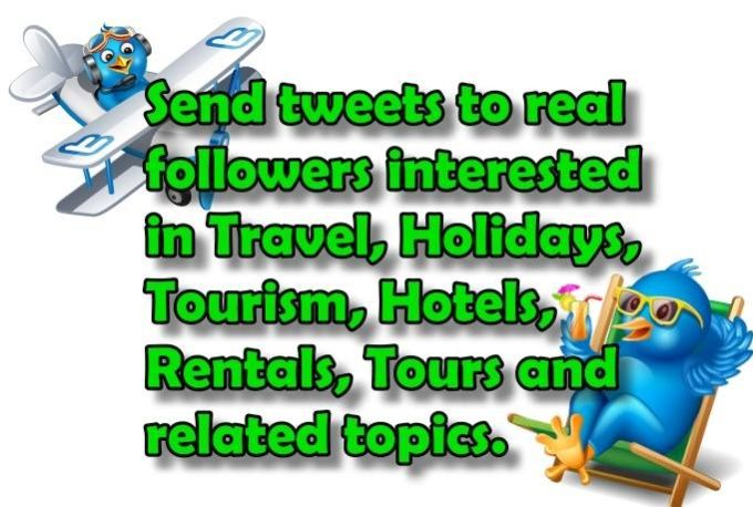 tweet promote 10 times to 63100 Twitter followers Travel Tours... by interuy