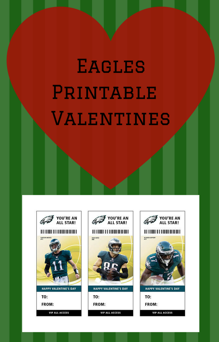 Philadelphia Eagles Football Valentine S Day Card Ticket Printable