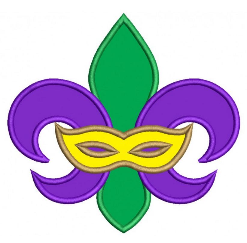 Mardi Gras Fleur de lis Mask Applique Machine Embroidery Design Digitized Pattern #MardiGras