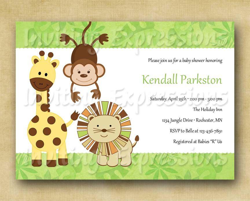 Jungle Animals Baby Shower Invitations. via Etsy. | Party Ideas ...