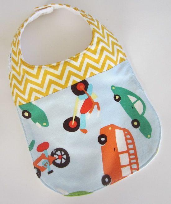 Baby BOY Bibs-  Retro Cars, Motorcycle / Yellow Chevron Baby Bib / Perfect for Teething. $12.00, via Etsy.