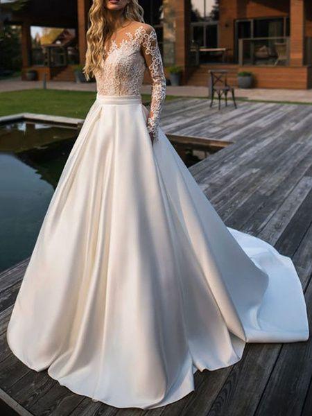Robe de mariée princesse Silhouette col bijou manches longues taille naturelle dentelle satin tissu robes de mariée