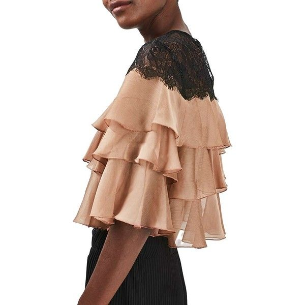 5220829f8b84da Women s Topshop Layer Ruffle   Lace Crop Top ( 75) ❤ liked on Polyvore  featuring tops