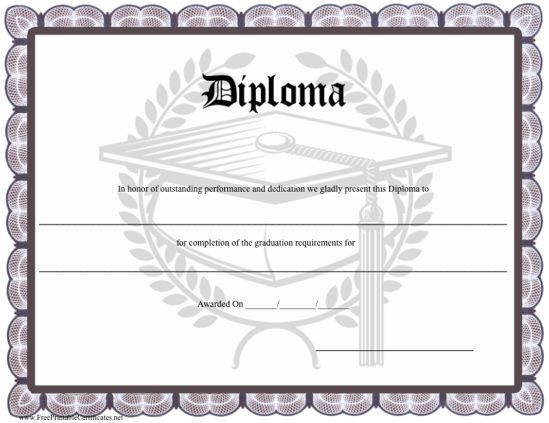 a distinctive printable diploma with a grey border and a graduation