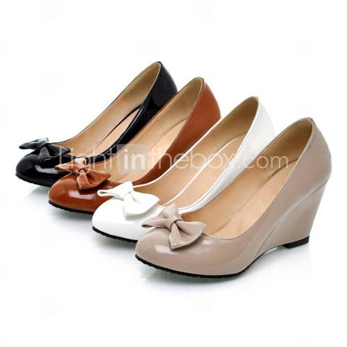 Patent Leather Closed Toe Wedges With Bow (More Colors)