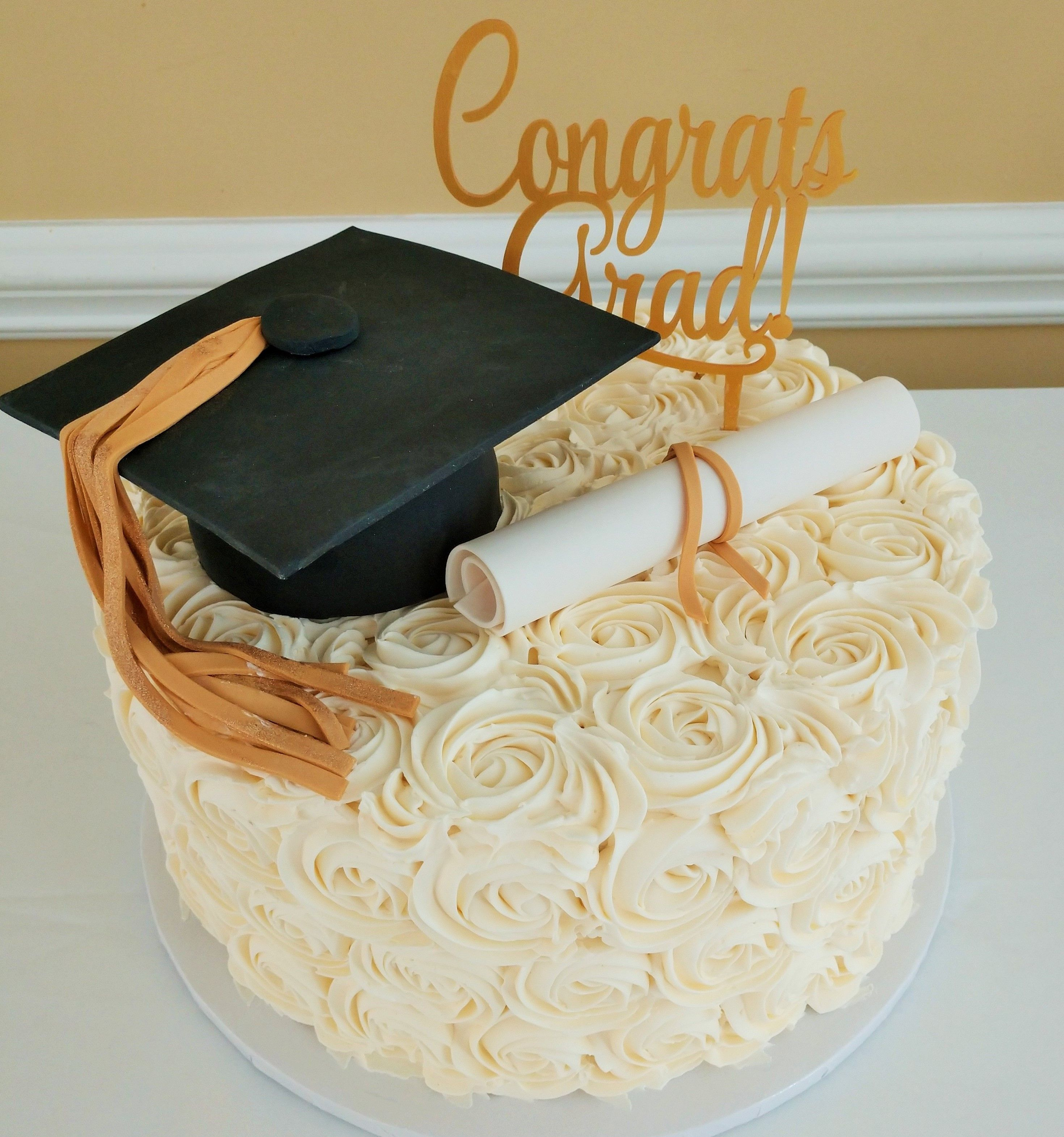 Grad Cake Buttercream Rosettes Gold White Graduation Cake