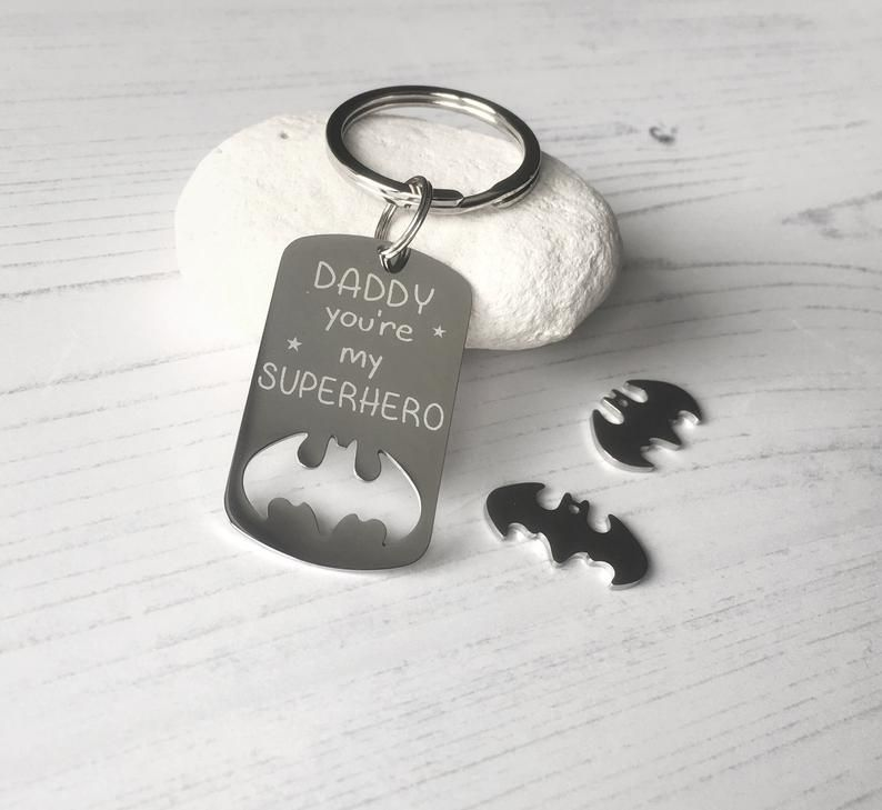Daddy gift, Fathers Day keyring, Grandad gift, engraved Daddy Batman dogtag, Dad, Superhero gift, Daddy you're my superhero