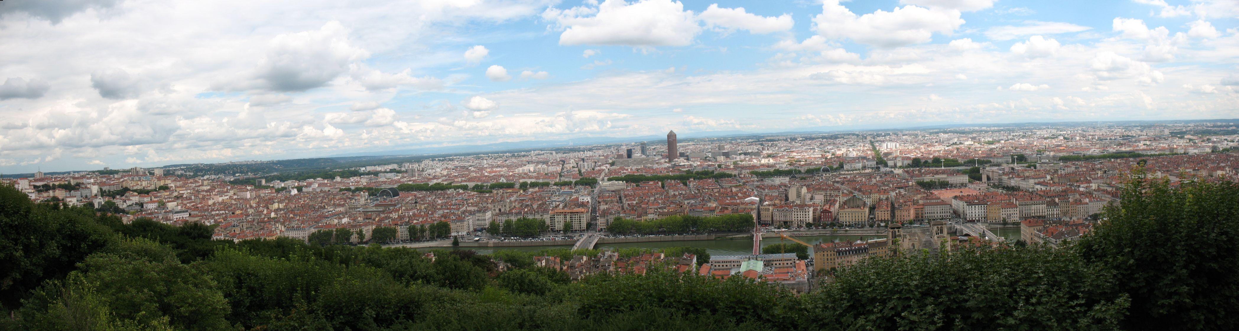 Lyon, France from Fourviere Church hill Church hill