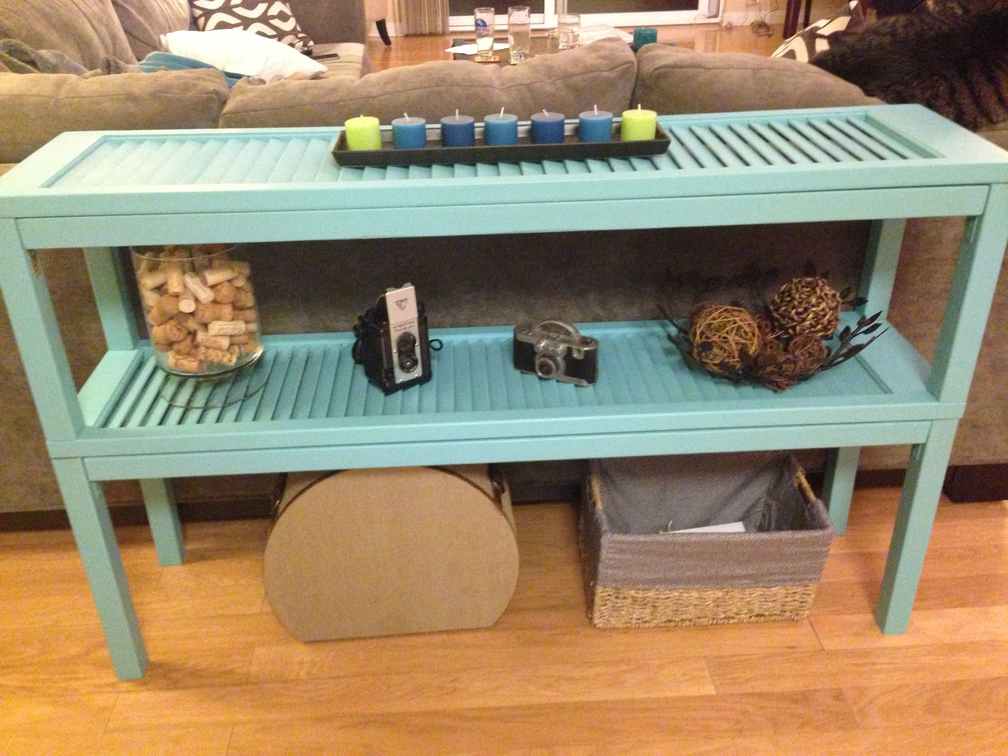 DIY console table using wooden shutters! … | repurposed, restored or ...