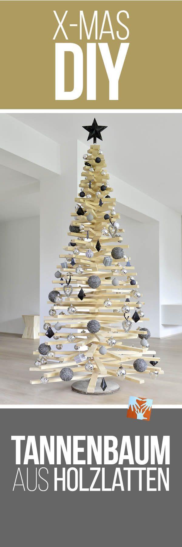 Diy weihnachtsbaum aus holzlatten basteln mit kindern diy und kreativ ideen weihnachtsbaum - Selbstgemachte weihnachtsdeko ...