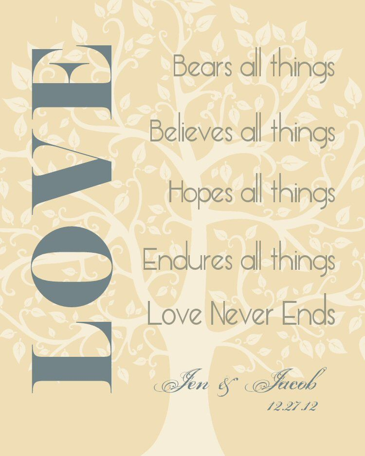 Love Never Fails Personalized Names Wedding Gift Art Print Tree