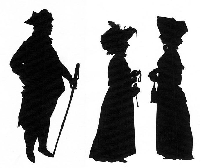 A set of full-length silhouettes cut in costume at a Jane Austen Festival