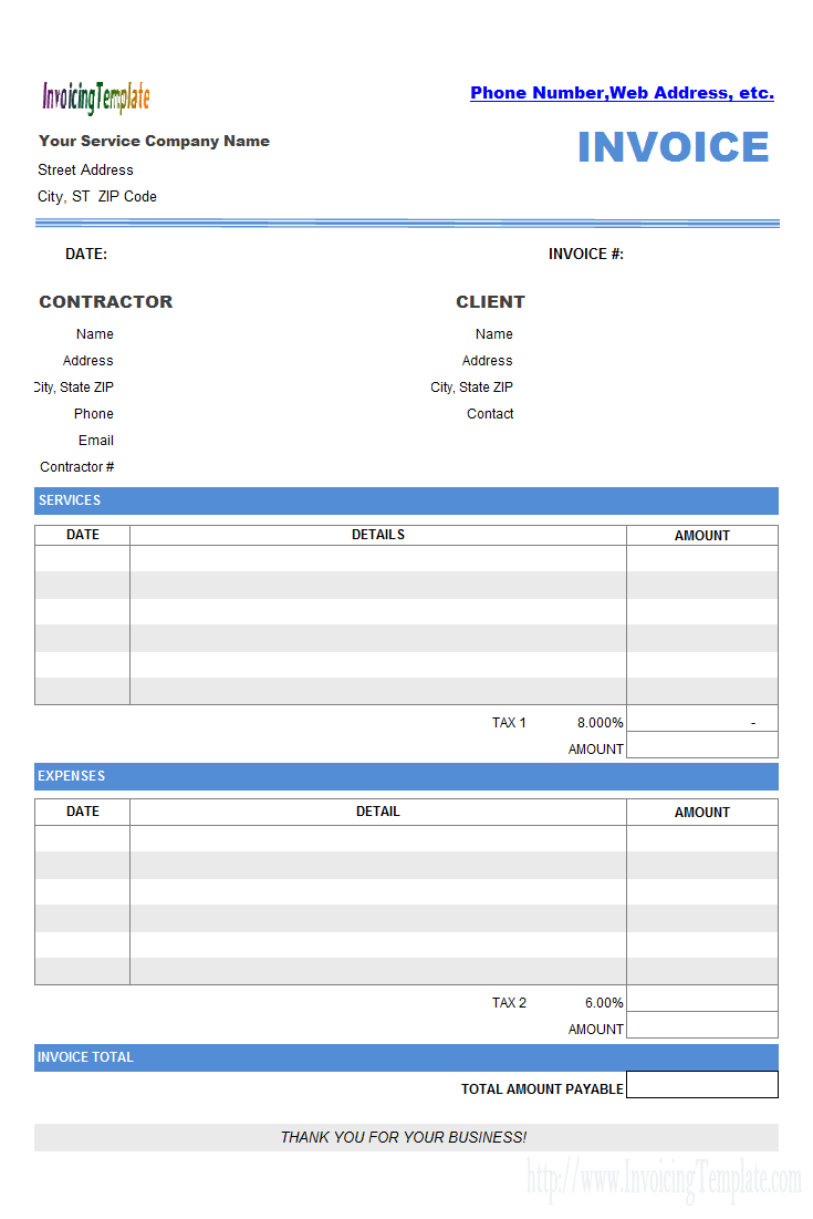 Contractor Invoicing Layout  Invoice Templates    Template
