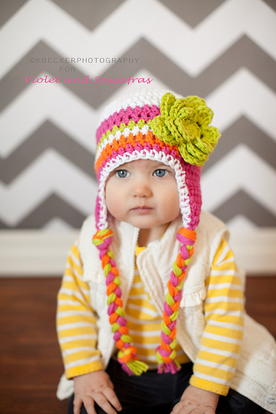 Girls winter hat, baby hat, girls hat, newborn girl hat, baby girls ...